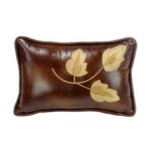 Highland Lodge Golden Leaf Lumbar Pillow W/ Faux Leather