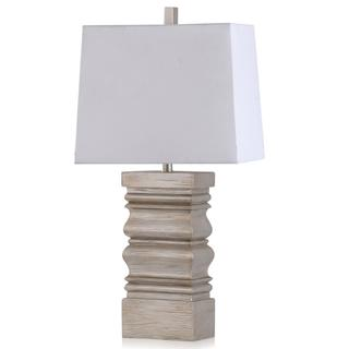 SILVER LEAF  16w X 32ht X 9d  Transitional Stacked Pillar Design Body Table Lamp in Silver with Re