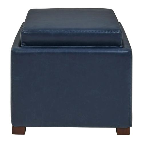 Product Image - Cameron Square Bonded Leather Storage Ottoman w/ tray, Vintage Blue