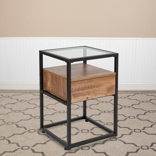 Flash Furniture - Cumberland Collection Glass End Table with Drawer and Shelf in Rustic Wood Grain Finish