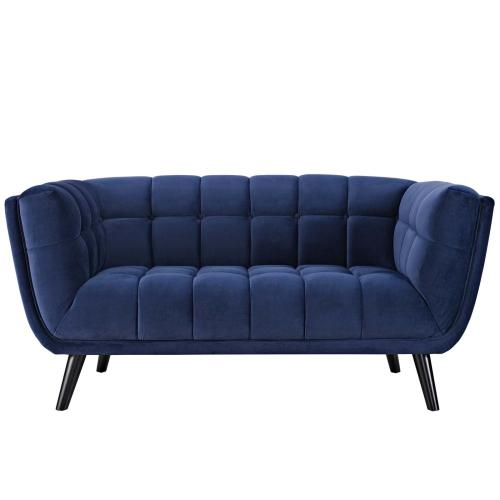 Bestow 3 Piece Performance Velvet Sofa Loveseat and Armchair Set in Navy