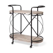 See Details - Marlon Black Metal Frame Two Tier Wood Shelves w/Stemware holder Bar Cart
