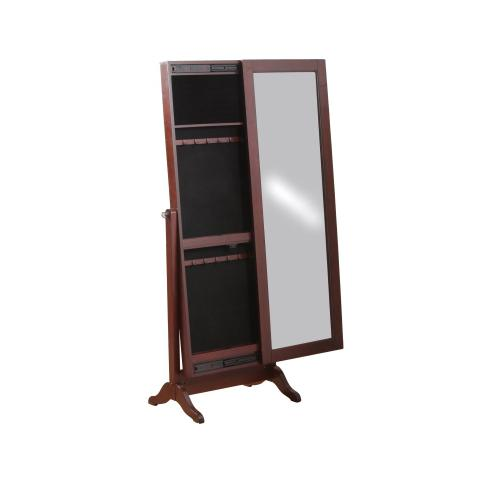 POWELL 14J2001CH Sliding Jewelry Armoire With Full Length Adjustable Mirror Cherry Finish