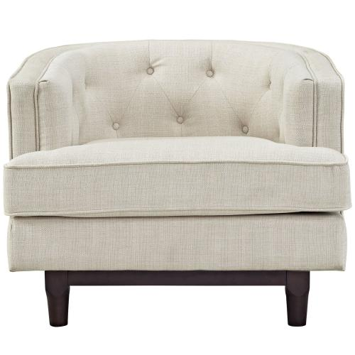 Coast Upholstered Fabric Armchair in Beige