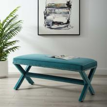 Rivet Performance Velvet Bench in Sea Blue