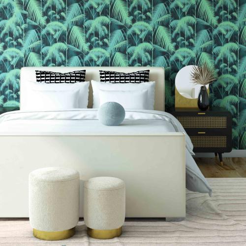 Madison Cream Velvet Bed in Queen