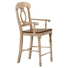 See Details - Napoleon Counter Height Barstool w/Arms - Two Toned Light Wood (Set of 2)