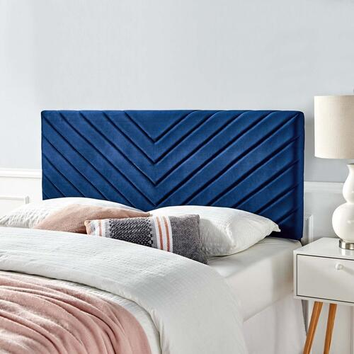 Alyson Angular Channel Tufted Performance Velvet Twin Headboard in Navy