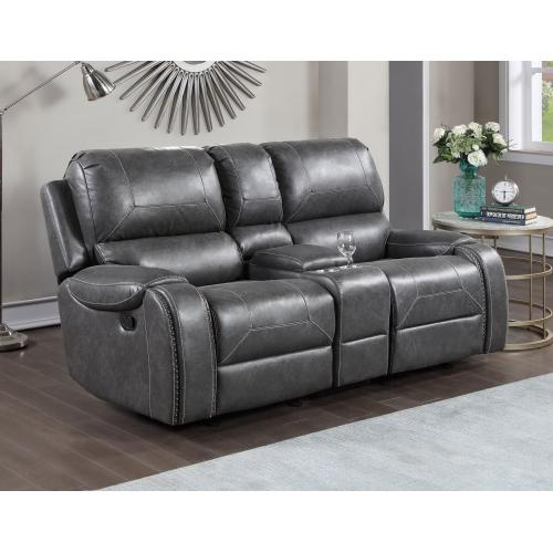 Keily Manual Glider Reclining Loveseat, Grey