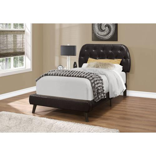 Gallery - BED - TWIN SIZE / BROWN LEATHER-LOOK WITH WOOD LEGS