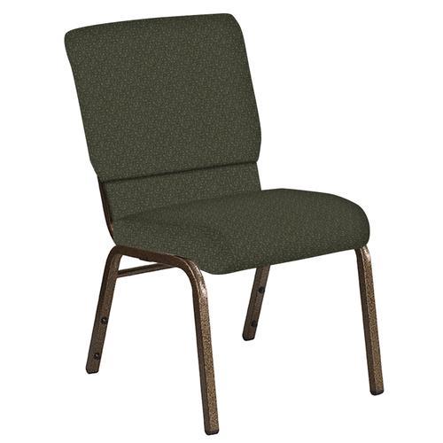 Flash Furniture - 18.5''W Church Chair in Mirage Fern Fabric - Gold Vein Frame