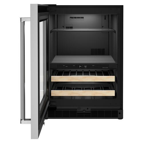 "24"" Beverage Center with Glass Door and Wood-Front Racks - Black Cabinet/Stainless Doors"