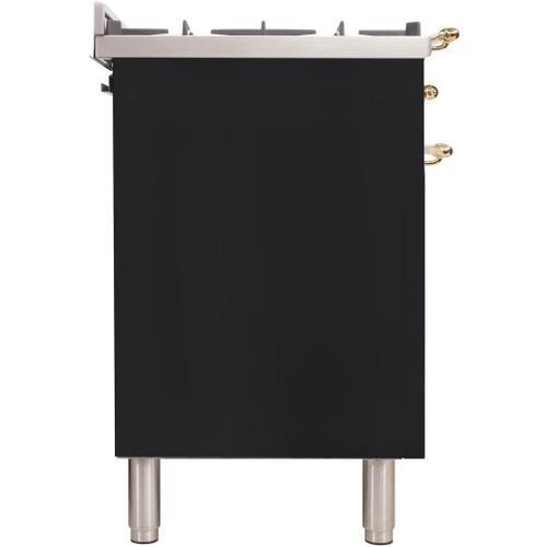 Product Image - Nostalgie 36 Inch Gas Liquid Propane Freestanding Range in Matte Graphite with Brass Trim