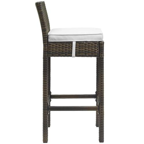 Conduit Bar Stool Outdoor Patio Wicker Rattan Set of 2 in Brown White
