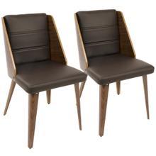 Galanti Dining Chair - Set Of 2 - Walnut Wood, Brown Pu
