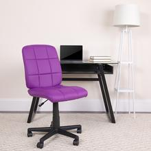 View Product - Mid-Back Purple Quilted Vinyl Swivel Task Office Chair