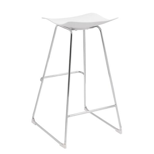 "Emerald Home Neo 30"" Barstool White Seat No Back-chrome Base D2502wht"