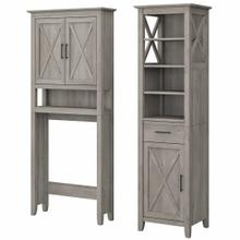 See Details - Tall Linen Cabinet and Over The Toilet Storage Cabinet, Driftwood Gray