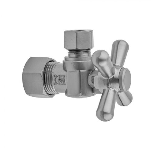 """Jaclo - Satin Gold - Quarter Turn Angle Pattern 5/8"""" O.D. Compression (FITS 1/2"""" Copper) x 3/8"""" O.D. Supply Valve with Standard Cross Handle"""