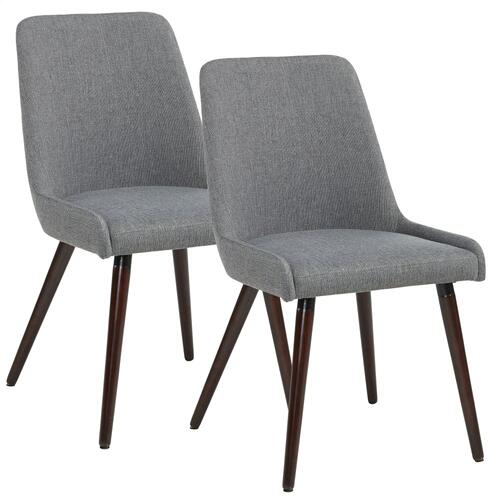 Mia Side Chair, set of 2 in Dark Grey/Walnut Legs