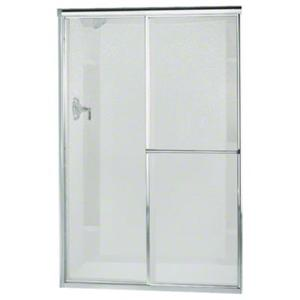 """Deluxe Sliding Shower Door - Height 65-1/2"""", Max. Opening 46"""" - Silver with Pebbled Glass Texture Product Image"""