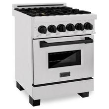 """See Details - ZLINE Autograph Edition 24"""" 2.8 cu. ft. Dual Fuel Range with Gas Stove and Electric Oven in DuraSnow® Stainless Steel with Matte Black Accents (RASZ-SN-24-MB) [Color: Matte Black]"""