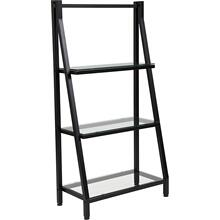 """Product Image - Highland Collection 3 Shelf 45.5""""H Glass Bookcase with Black Metal Frame"""
