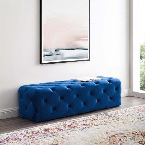 "Amour 60"" Tufted Button Entryway Performance Velvet Bench in Navy"