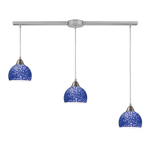 Cira 3-Light Linear Mini Pendant Fixture in Satin Nickel with Pebbled Blue Glass