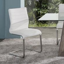 Fusion Contemporary Side Chair In White and Stainless Steel - Set of 2