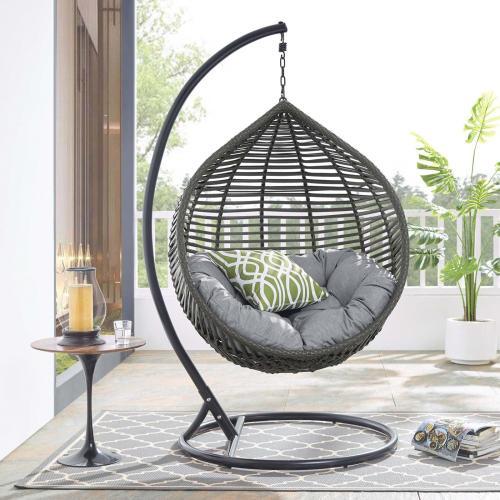 Garner Teardrop Outdoor Patio Swing Chair in Gray Gray