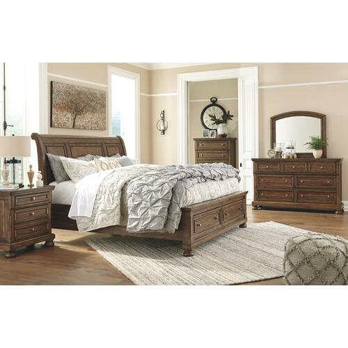 Queen Sleigh Bed With 2 Storage Drawers With Mirrored Dresser, Chest and Nightstand