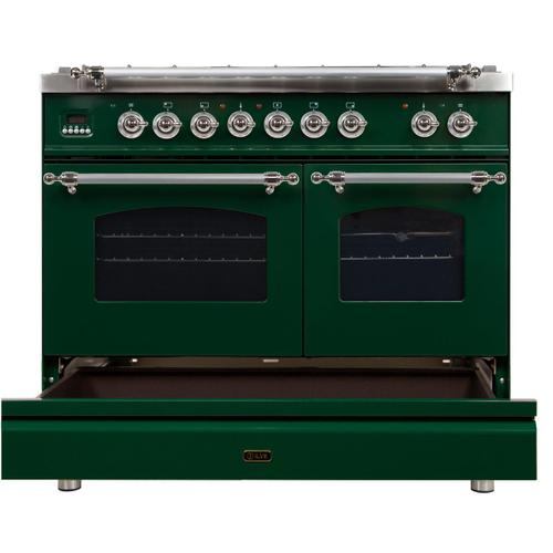 Nostalgie 40 Inch Dual Fuel Natural Gas Freestanding Range in Emerald Green with Chrome Trim