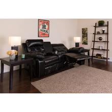 See Details - Reel Comfort Series 2-Seat Reclining Black LeatherSoft Theater Seating Unit with Curved Cup Holders