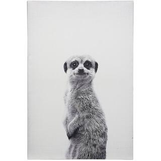 MEERKAT PORTRAIT  HAND EMBELLISHED  36in X 24in  Black And White Bold Meerkat Portrait Canvas