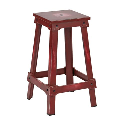 "New Castle 26"" Antique Red Metal Barstool, Kd"