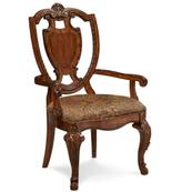 Old World Shield Back Arm Chair with Fabric Seat (Sold As Set of 2)