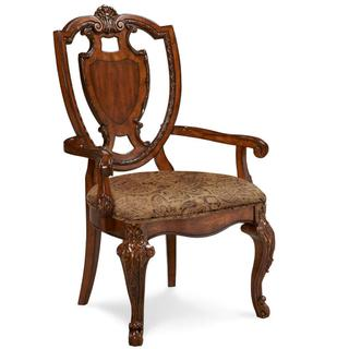 See Details - Old World Shield Back Arm Chair with Fabric Seat (Sold As Set of 2)