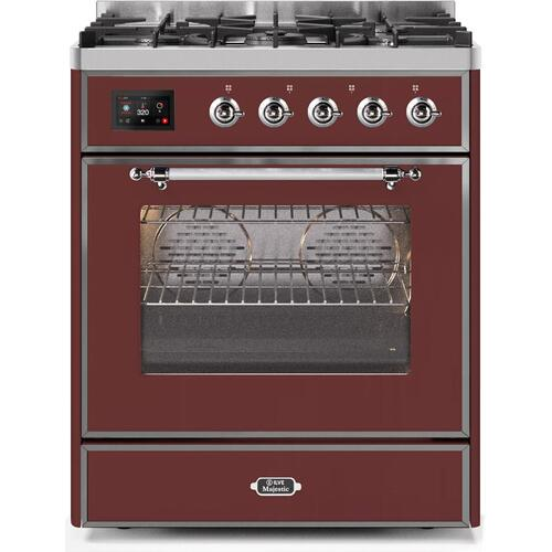 Majestic II 30 Inch Dual Fuel Natural Gas Freestanding Range in Burgundy with Chrome Trim