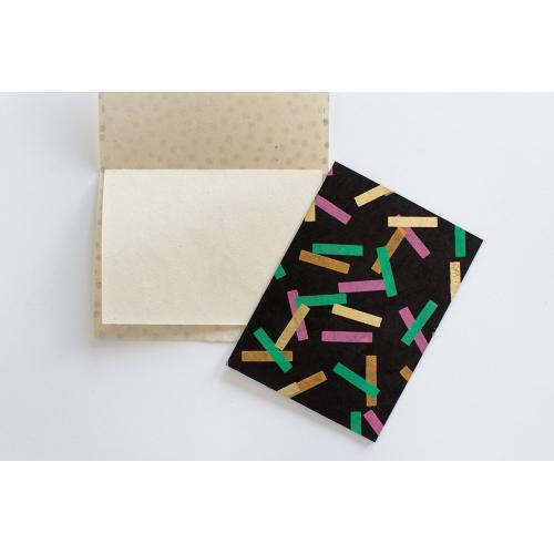 """4.25"""" x 6"""" x pack of 5 Black Notecards (Confetti Option)"""