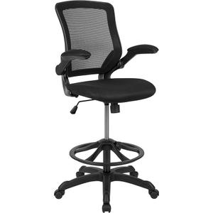 Gallery - Mid-Back Black Mesh Ergonomic Drafting Chair with Adjustable Foot Ring and Flip-Up Arms