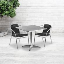 See Details - 31.5'' Square Aluminum Indoor-Outdoor Table Set with 2 Black Rattan Chairs