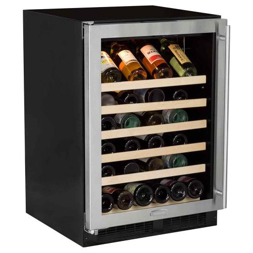 24-In Built-In Single Zone Wine Refrigerator with Left Hinge Door Swing - Stainless Trim - CLEARANCE ITEM
