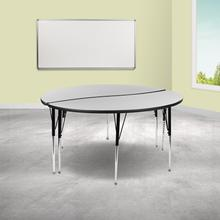 """See Details - 2 Piece 60"""" Circle Wave Flexible Grey Thermal Laminate Activity Table Set - Standard Height Adjustable Legs"""