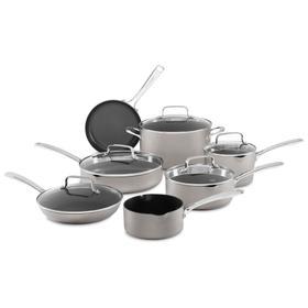 Nonstick Anodized Aluminum Cookware - 12 Pcs KitchenAid - Cocoa Silver