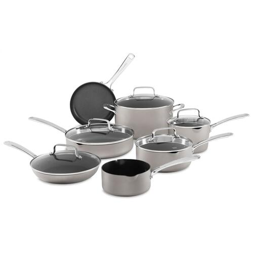 Nonstick Anodized Aluminum Cookware - 12 Pcs KitchenAid - Cocoa Silver
