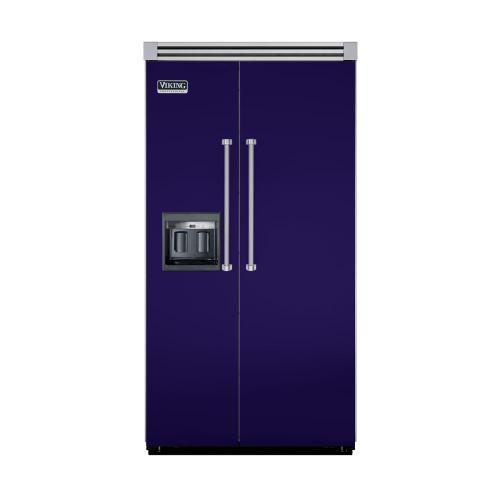 """Viking - Cobalt Blue 42"""" Side-by-Side Refrigerator/Freezer with Dispenser - VISB (Integrated Installation)"""