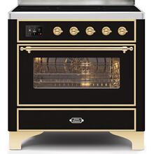 Majestic II 36 Inch Electric Freestanding Range in Glossy Black with Brass Trim