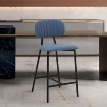 """Rococo 26"""" Modern Counter Height Bar Stool with Black Metal Finish and Blue Faux Leather"""