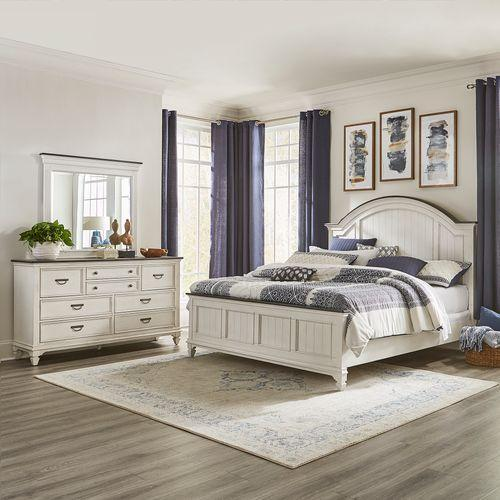 Queen Arched Panel Bed, Dresser & Mirror